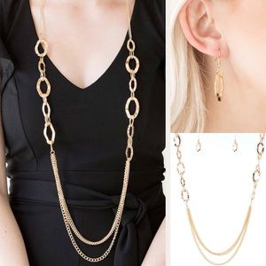 Jewelry - Beautiful Long Gold Necklace Earrings Jewelry Set